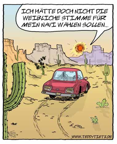 Teddy Tietz Cartoon der Kalenderwoche 11 - Weibliches Navi findet den ...